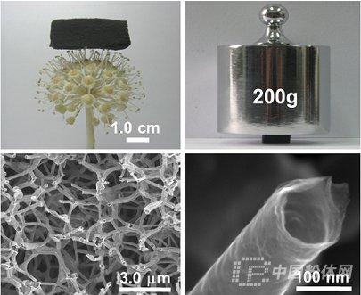 """三维石墨烯管的""""超级材料""""(图1),属于一种新型的具有分级多孔结构的"""